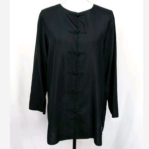 Neiman Marcus Exclusive 100% Silk Toggle Blouse
